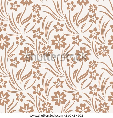 Intricate colorful vector pattern of flowers with a touch of retro