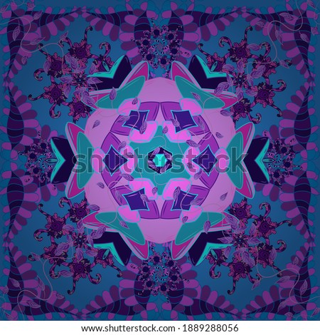 Intricate floral design element for wallpaper, gift paper, fabric. Unusual vector ornament decoration. Boho abstract seamless pattern. Colorful colored tile mandala on a pink, blue and violet colors.