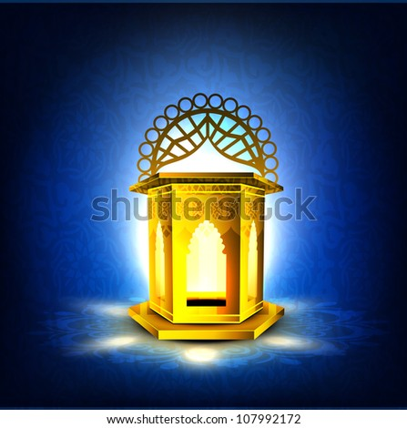 Intricate golden Arabic lamp with lights on creative blue background. EPS 10.