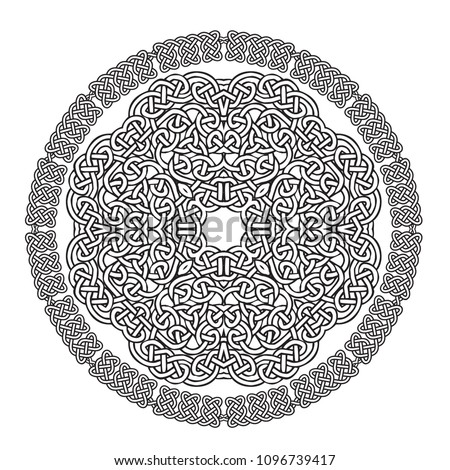 Intricate mandala made with celtic knot design.