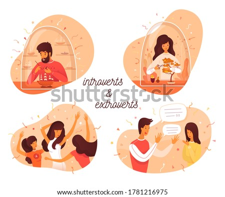 Introvert and extrovert individuality. Introversion man makes ship model, woman takes care of bonsai plants. Extroversion guy talking with people, girl dancing in party club. Vector illustration Foto stock ©