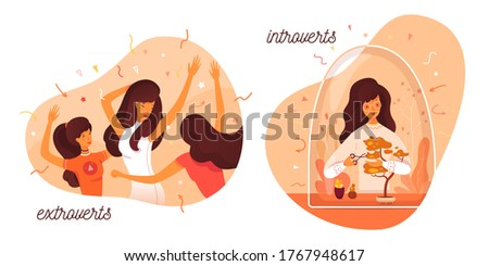 Introvert and extrovert individuality. Introversion woman cares bonsai plant, enjoys loneliness hobbies. Extroversion girl dancing at party club, entertainment with people. Vector illustration Foto stock ©
