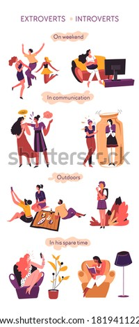 Introvert versus extrovert, behavioral comparison of psychological types. Partying and talkative extroverted personages and calm, quiet introverted characters in communication vector in flat style Foto stock ©