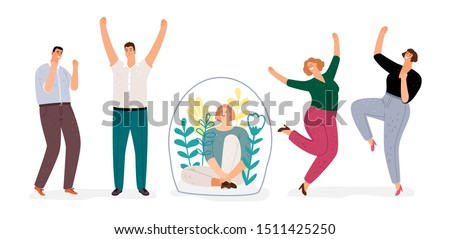 Introvert vs extravert. Introverted girl character, flat happy men and woman dancing. Extraversion, Introversion vector concept Foto stock ©