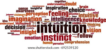 Intuition word cloud concept. Vector illustration