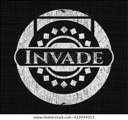 Invade chalkboard emblem on black board