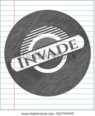 invade draw with pencil effect