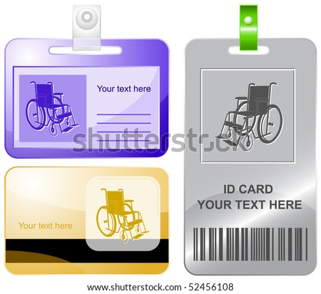 Invalid chair. Vector id cards.