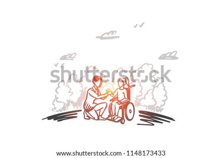 Invalid, disabled, help, medicine, hospital concept. Hand drawn woman on wheelchair with social worker concept sketch. Isolated vector illustration.