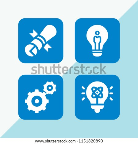 invention icon. 4 invention set with patent, gearwheels couple and idea vector icons for web and mobile app