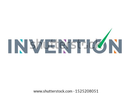 invention logo in gray color. invention world concept