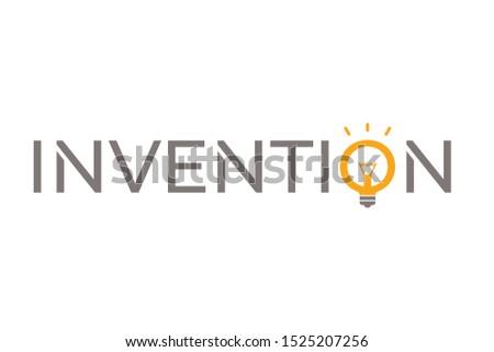 invention logo. invention word and orange light bulb symbol