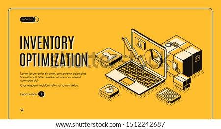 Inventory optimization isometric landing page. balancing capital investment constraints service-level goals large assortment of stock keeping units 3d vector illustration, line art web banner template