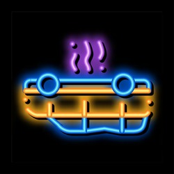 inverted car neon light sign vector. Glowing bright icon inverted car sign. transparent symbol illustration