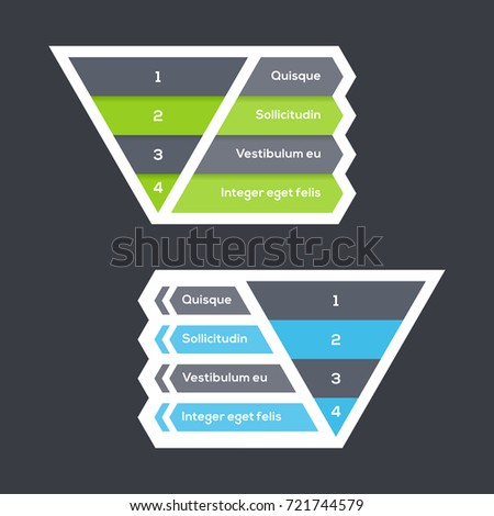 Inverted pyramid chart with four steps with arrows, numbers and text, pyramid diagram for presentations and training, vector infographic template
