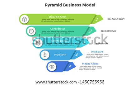 Inverted pyramid divided into 5 colorful parts or layers. Concept of five stages or steps of business progress. Creative infographic design template. Volumetric vector illustration for presentation.