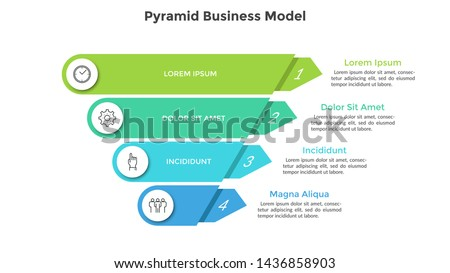 Inverted pyramid divided into 4 colorful parts or layers. Concept of four stages or steps of business progress. Creative infographic design template. Volumetric vector illustration for presentation.