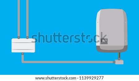 Inverter and string box in flat design - Solar Energy Equipment Concept Image.
