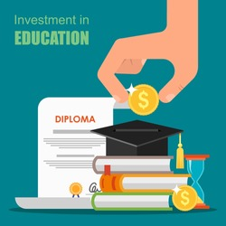 Invest in education concept. Vector illustration in flat style design. Stack of books, diploma and university student cap. Money savings for study