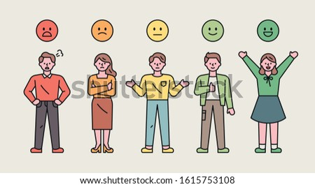 Investigate your preferences with color and facial expression emoticons. Steps from good to bad. flat design style minimal vector illustration. Stock foto ©