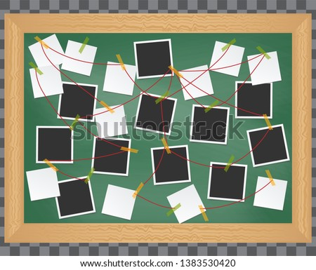 Investigation, evidence board. Crime investigation concept. Realistic 3d Detailed Investigation Board or Detective Map with Pinned Photos and Note. Detective map vector illustration.