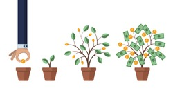Investing in business and revenue growth. Saving and increasing money. Concept illustration. Man grows a money tree. Isolated on white background. Stock vector illustration