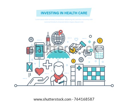 Investing in health care. Development medicine, quality of service. Paid medicine, private clinics. Medical insurance. Save, maintaining health, life. Illustration thin line design of vector doodles.