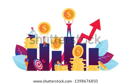 Investing in the future vector illustration. Flat design concept for smart investment, finance and banking