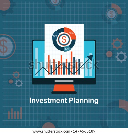 Investing in the future vector illustration. Flat line design concept for smart investment, finance and banking, commercial real estate, strategic management, financial analysis and planning template