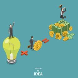 Investing into idea isometric flat vector concept. Idea plus investor is a huge profit.