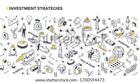 Investing strategies, styles & tactics concept. Growth & value investing, active trading, long term investment, buying market index.  Financial outline isometric illustration