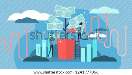 Investing vector illustration. Deposit profit and wealth growing business. Teamwork persons cultivate money to fund future business. Increase income dollars with successful bank investor strategy.