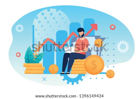 Investment and Analysis Money Cash Profits Metaphor. Freelancer, Employee or Manager Making Investing Plans, Calculating Benefits on Laptop. Vector illustration Career Growth and Business Success Foto stock ©