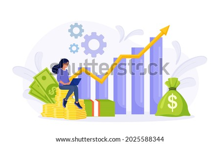 Investment and Analysis Money Profits. Investor sitting on stack of coins. Employee Making Investing Plans, Calculating Benefits on Laptop. Profitable investment, funding Financial consulting, savings