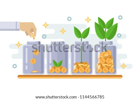 Investment and finance growth business concept. Hand putting coin in clear bottle. Green tree growing from money coins. Vector flat isolated illustration.