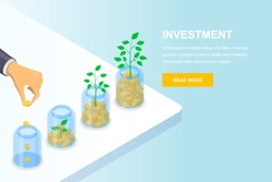 Investment and finance growth business concept. Hand putting coin in clear jar, vector 3d isometric illustration. Banner, landing page design template.