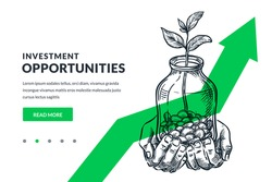 Investment and finance growth business concept. Human hands hold glass jar with coins and growing plant or tree on green arrow background. Hand drawn vector sketch illustration. Poster banner design
