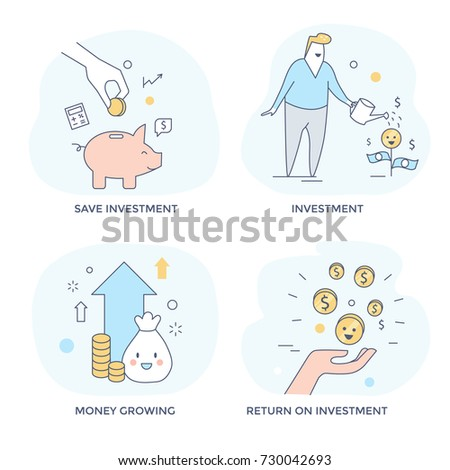 Investment and make money concept icons, line flat design