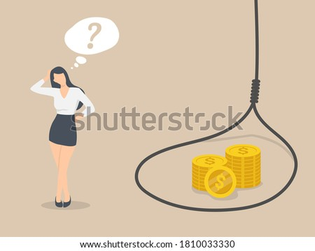 Investment and trap,  Confused business women stand on the side of the trap. Foto stock ©
