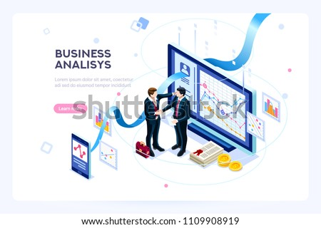 Investment and virtual finance. Communication and contemporary marketing. Future and office devices working on investments. Infographic for web banner, hero images. Flat isometric vector illustration. - Shutterstock ID 1109908919