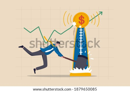 Investment asset price hit all time high, market rising, stock, crypto currency or gold price rally concept, businessman investor with hammer hit hard on strength tester to reach it top new high graph Сток-фото ©