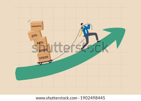 Investment assets or financial products for diversify portfolio, wealth management and asset allocation concept, smart investor pulling boxes with label stocks, ETFs, bonds, REITs and commodities. Stock photo ©