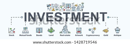 Investment banner web icon for business and finance. Property, Land, stock, gold, bond, mutual funds, currency exchange, profit and loss. Minimal vector infographic.