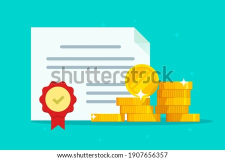 Investment bond or stock obligation document with seal stamp and money vector flat cartoon illustration, legal grant agreement, financial heritage inheritance paper certificate, award idea modern