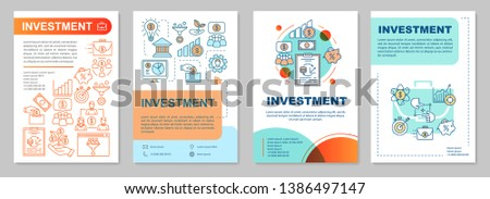 Investment brochure template layout. Types of financing. Flyer, booklet, leaflet print design with linear illustrations. Vector page layouts for magazines, annual reports, advertising posters