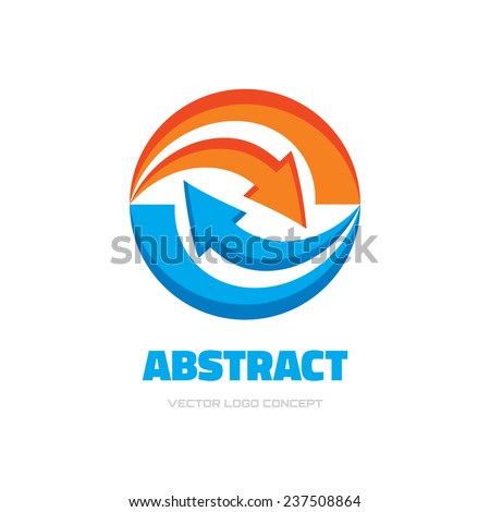 Investment - business logo template concept illustration. Arrows recycled in circle. Two colored design elements.