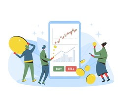 Investment concept. Minor shareholders getting money with mobile app. Stock market  boom. Growth in equity prices. Tiny people with huge phone, coins, graph. Vector flat illustration.