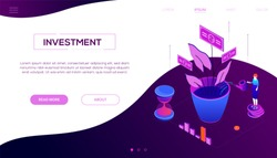 Investment concept - modern colorful isometric vector web banner on purple background with copy space for text. Header with a woman standing on coins stack, watering money tree, diagrams and hourglass