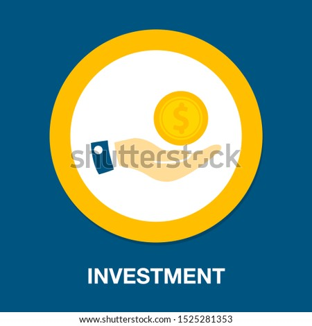 investment concept, money in hand logo, financial investors, business investment icon, stock markets, bank save