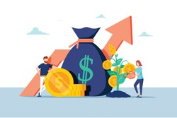 Investment Financial Business People Increasing Capital and Profits. Wealth and Savings with Characters. Earnings Money. Vector illustration. Research and analyze business Financial growth of profit